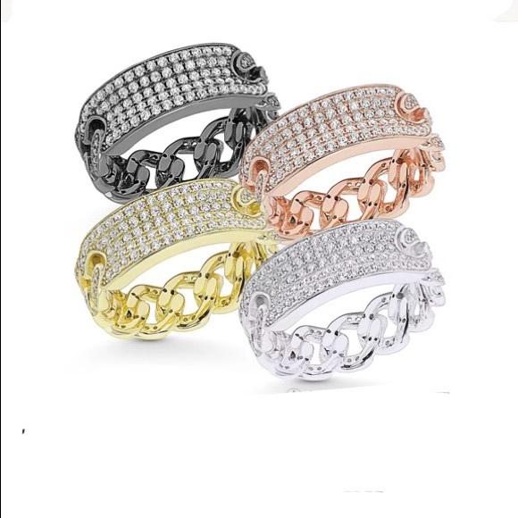 Womens 925 Sterling Silver Multi Color Stone White /& Black Rhodium Ring